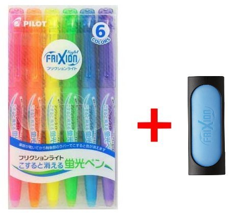 Erasable Highlighter - Pilot Frixion Erasable Highlighter Pen 6 Colors with Frixion Eraser