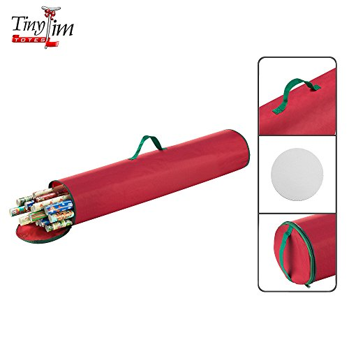 Home Improvement Season 9 Christmas - Tiny Tim Totes | Gift Wrap Organizer | 40.5 inch Wrapping Paper | Stand Up | Red | Canvas