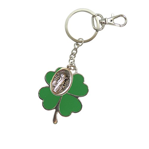 Patrick Medal Ring - Irish Good Luck Shamrock Stainless Steel and Porcelain Enamel Saint Patrick and Saint Brigid Green Shamrock Keychain Keyring Zipper Pull with Lobster Clasp and Blessed Silver Oxidized Medal