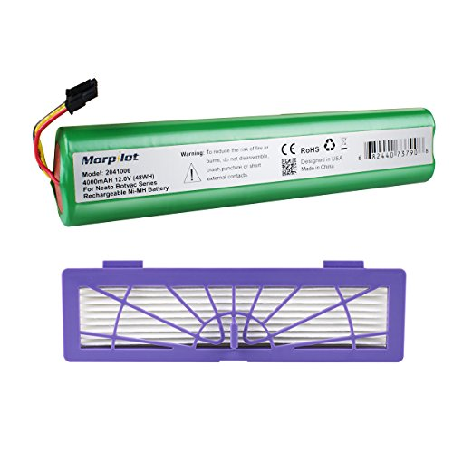 Morpilot 4000mAh Extended NiMh Battery with HEPA Fliter for Neato Botvac Series and Botvac D Series Robots Botvac 70e, 75, 80, 85 Robotic Vacuum Cleaner 945-0129 945-0174