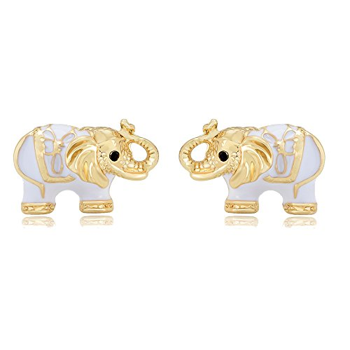MANZHEN White Enamel Lovely Elephant Animal Stud Earrings (gold)
