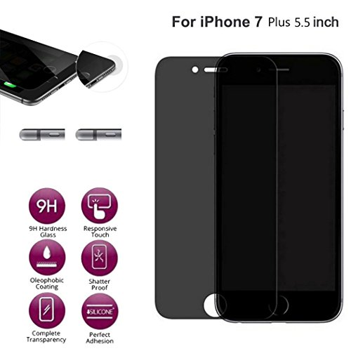 Screen Protector For iPhone 7 Plus Case [5.5inch], Gotd Anti-Spy Privacy Tempered Glass Screen Protector Design Protective Film for iPhone 7 Plus (Black)