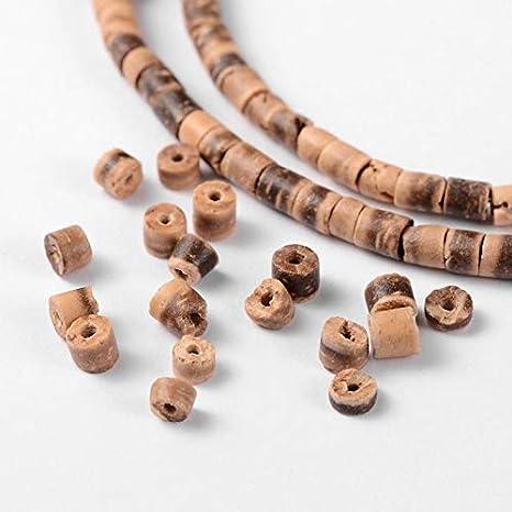 PandaHall 10 brins Brins de Perles de Colonne de Noix de Coco Naturelles de 15 Pouce pour la Fabrication de Bijoux Environ 144 pcs//Brin