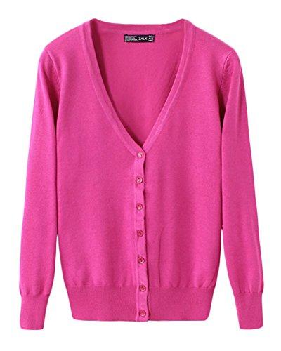 Slim Maniche Scialle Cardigan jacket Donna Corta lunghe small Roserosso shawl aqwXwIEO