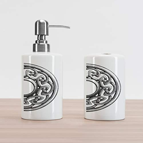 Lunarable Celtic Soap Dispenser and Toothbrush Holder Set, Royal Style Circular Brooch Design Antique Traditional Scottish Motif Print, Ceramic Bathroom Accessories, 4.5