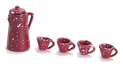 Dollhouse Miniature Red Spatterware Coffee Pot and Cups