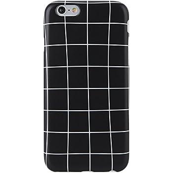 wholesale dealer 53f8e 3f169 iPhone 6 Case, iPhone 6s Case,Black and White Grids,VIVIBIN Cute for Women  Girls Clear Bumper Best Protective Soft Silicone Rubber Matte TPU Cover ...