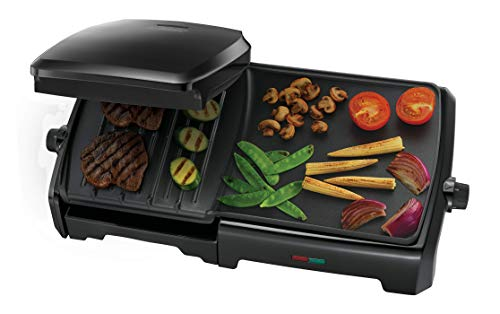 George Foreman 23450 10-Portion Entertaining Grill and Griddle, Aluminum, 2180 W, Black