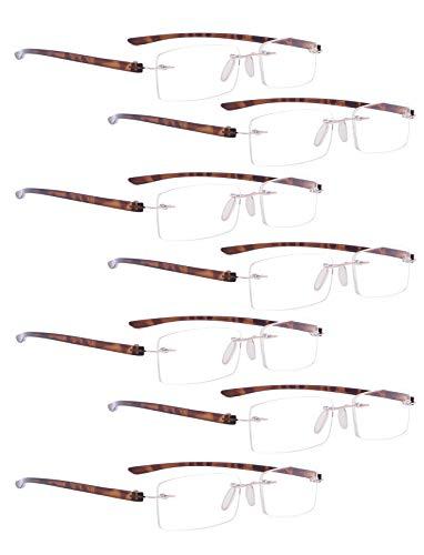 READING GLASSES 7 pack Small Lens Rimless Readers (Tortoise Arm, 1.75)