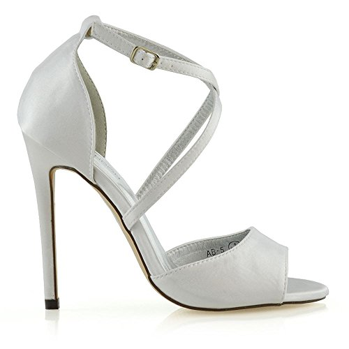 Stiletto GLAM Buckle Strap Womens Satin Ladies White Ankle Bridal Sandals ESSEX Shoes Heel Party fpaxHHqI