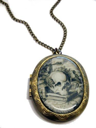 (Fallen Saint Skull & Books Cameo Locket Necklace)