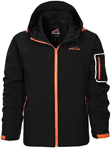 svacuam Men's Waterproof Jacket Hooded Windbreaker Softshell Fleece Lined Rain Coat