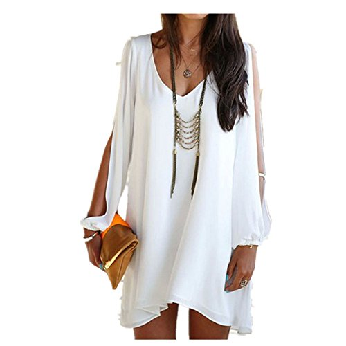 Price comparison product image Clearance Sale! Women Dresses WEUIE 1PC Sexy Women Lady Summer Casual Party Evening Cocktail Short Mini Dress (S,  White)
