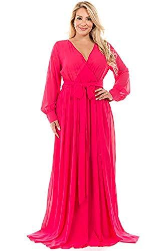 RICARICA Plus Size Floral Printed Chiffon Maxi Dress (Solid Magenta, - Magenta Chiffon
