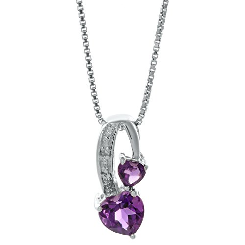 .5 Ct Purple Amethyst .01 cttw Diamond Sterling Silver Birthstone Pendant