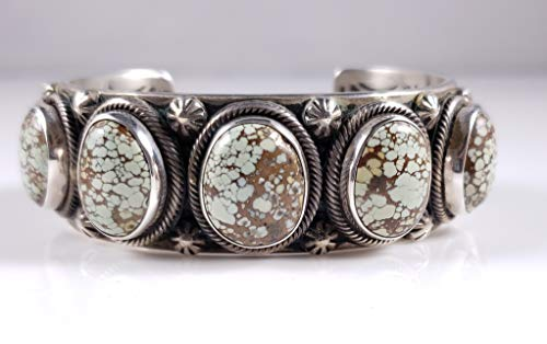 Sterling Silver Navajo Row Cuff Bracelet Treasure Mountain Turquoise By Ned Nez