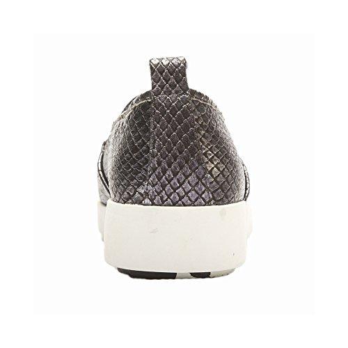 Pic / Pay Allyce Femmes Appartements - Python Gaufré Slip-on Sneaker Étain Métallique Phyton Imprimer