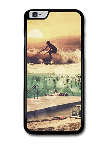 Surfers Vintage Collage with Van Swimming Pool and Sunset coque pour iPhone 6 Plus 6S Plus