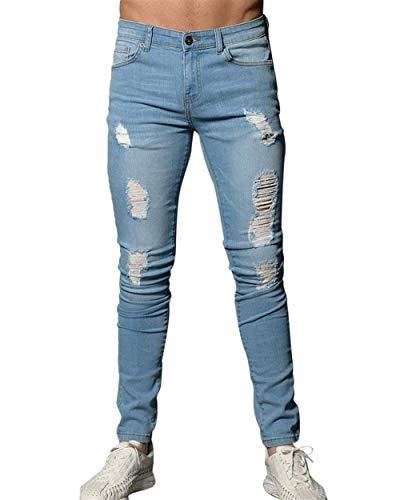 Elasticizzati Fit Jeans Estilo Leggeri Hellblau Casual Strappati Pantaloni Slim Denim Uomo Especial Fori Motociclista Da qYwfnAPx