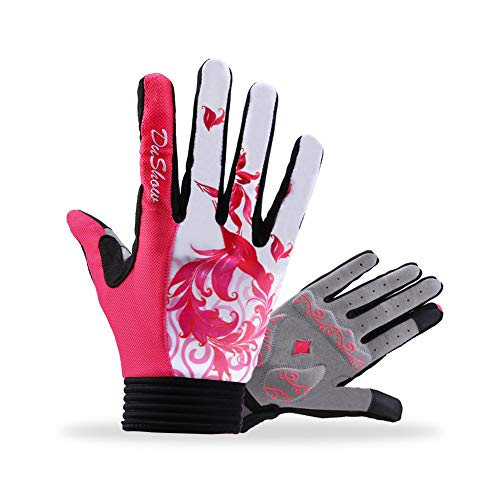 DuShow Women Cycling Gloves Full Finger Touchscreen Bike Gloves Long Gel Padded for Climbing Hiking Camping Motorcycle(Red Velcro,M)