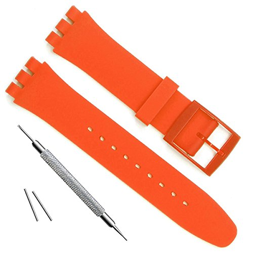 Ultra-thin Replacement Waterproof Silicone Rubber Watch Strap Watch Band for Swatch Skin Series (16mm, - Swatch Orange
