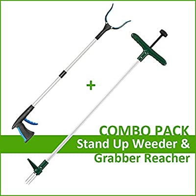Walensee Stand Up Weeder and Weed Remover Tool, Stand up Manual Weeder Hand Tool with 3 Claws, Stainless Steel and High Strength Foot Pedal, Weed Puller (Combo Pack - Stand Up Weeder & Grabber Tool)