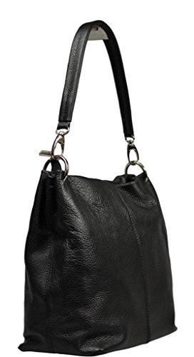 Schöne praktische Leder Schwarze Handtasche aus Leder Fiora Nera 2 über die Schulter