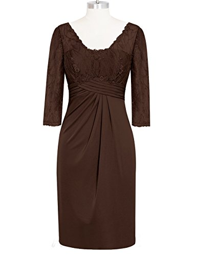 Gameyly Women's Embroidery Illusion Lace Knee Length Sheath Party Dress US10 Chocolate