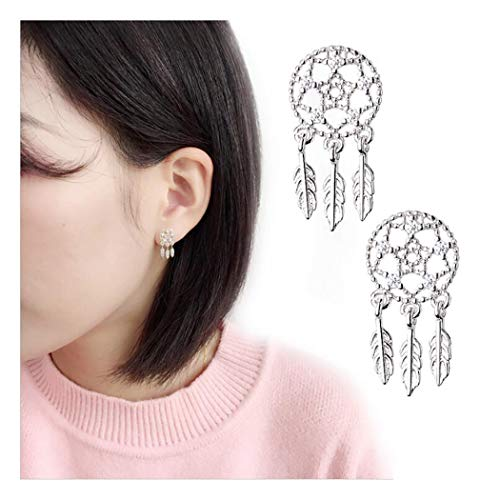 (Campsis Dreamcatcher Ear Studs Silver Feather Ear Crawler for Women and Girls)