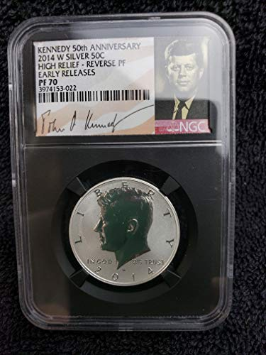 2014 W Gem Reverse Proof Kennedy Half Dollar High Relief 50th Anniversary 1/2 PR70 Early Releases NGC