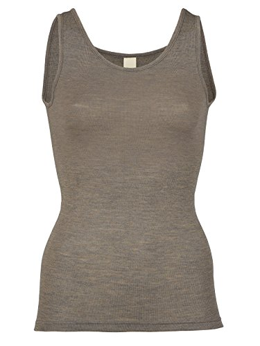 Autumn Walnut (EcoAble Apparel Women's Thermal Tank Top for Layering, 70% Organic Merino Wool 30% Silk (38-40 / Small, Walnut))