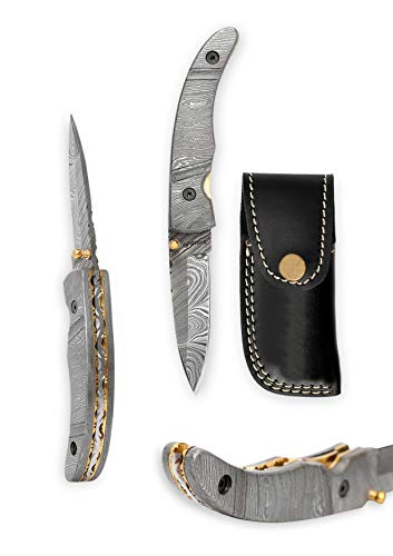 Perkin Knives Handmade Damascus Hunting Foldable Knife