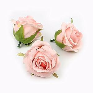 FLOWER 7pieces 6cm Artificial Rose Head Silk Wedding Decoration Wall Handmade Fake (Pink) 118