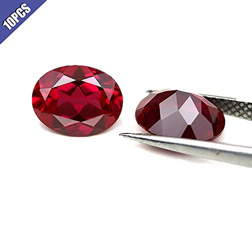 Ximimark 10Pcs Oval Shape Cut Red Ruby Mozambique Loose Gemstone -