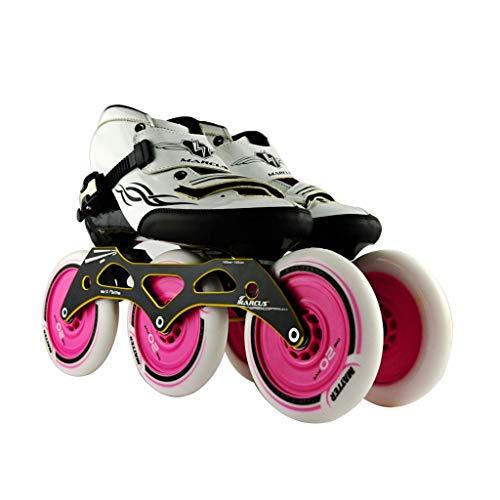 シンカン果てしない君主ailj スピードスケート靴3 * 125MM調整可能なインラインスケート、ストレートスケート靴(3色) (色 : Pink, サイズ さいず : EU 46/US 13/UK 12/JP 28cm)