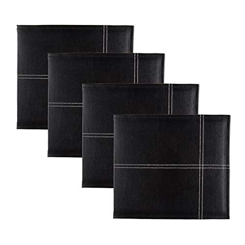 - DesignOvation Stitched Faux Leather Black 8x8 Scrapbook, Set of 4