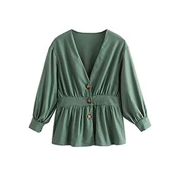 Amazon.com: Women Vintage V Neck Solid Jacket Single