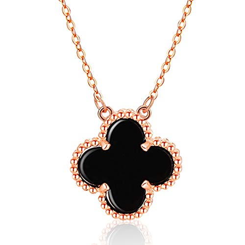 (LOVESILVER Sterling Silver Black Necklace Agate Lucky Clover Necklace Gold Lady Pendant Necklace Extension, 18