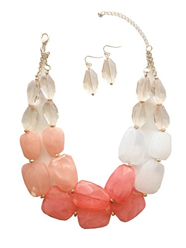 Chunky Peach - Secret for Longevity Pink Peach Melon Salmon Colored Resin Big Chunky Statement Necklace Earrings Set