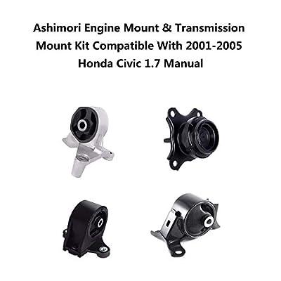 Ashimori Compatible With Honda Civic Acura EL 1.7L Manual 2001-2005 Engine Motor Mount Set A4511 A4539 A6588 A6589: Automotive