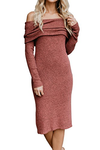 Brilanter Women's Womens Midi Length Dresses | Off Shoulder Sweater Dresses