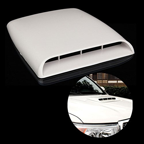 KaTur Universal Car Decorative Air Flow Intake Hood Scoop Vent Turbo Bonnet Cover White