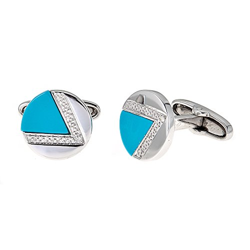 Genuine Natural Turquoise and 0.04 Carat Diamond Cufflinks In 925 Sterling Silver. ()