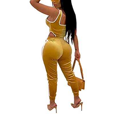Womens Velvet 2 Piece Outfits- Sleeveless Bodysuit Tops Stretchy Long Pants Tracksuit Sets at Women's Clothing store