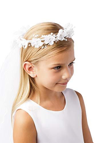 Girls White Pearl Rhinestone Center Floral Crown First Communion Flower Girl Head Wreath with Veil #775