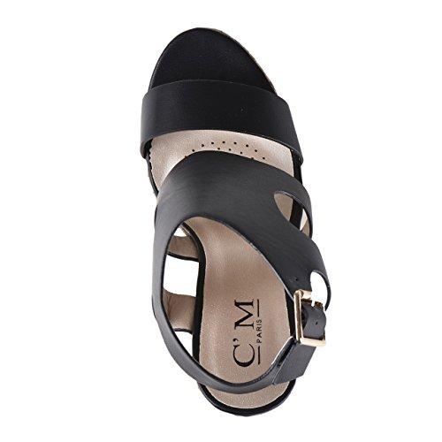 Sandalias con corcho de cuña en negro