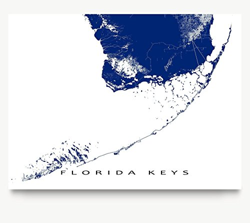 Florida Keys Map Print, Key West, Key Largo, USA Art Poster
