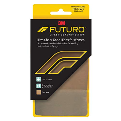 Futuro Revitalizing Ultra Sheer Knee Highs for Women Medium Nude Moderate Compression - 1 Pair, Pack of 3