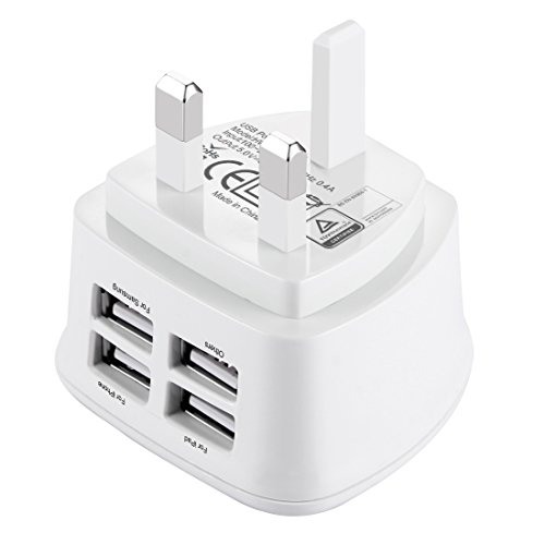 HAWEEL UK Wall Charger 4 USB Port 3 Pin Plug Max 3.1A with ROHS, CE and BS Certificate for iPhone X/ 8/ 8 Plus/ 7/ 7 Plus/ 6/ 6s Plus, iPad, Samsung and other Chargable Devices (UK Plug Type 2)