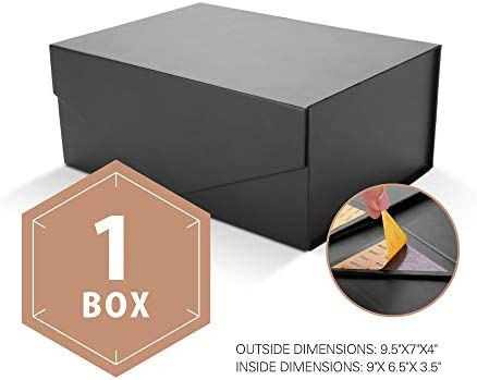 Packhome Gift Box Rectangular 9 5x7x4 Inches Groomsman Box Rectangle Collapsible Box With Magnetic Lid For Gift Packaging Matte Black With